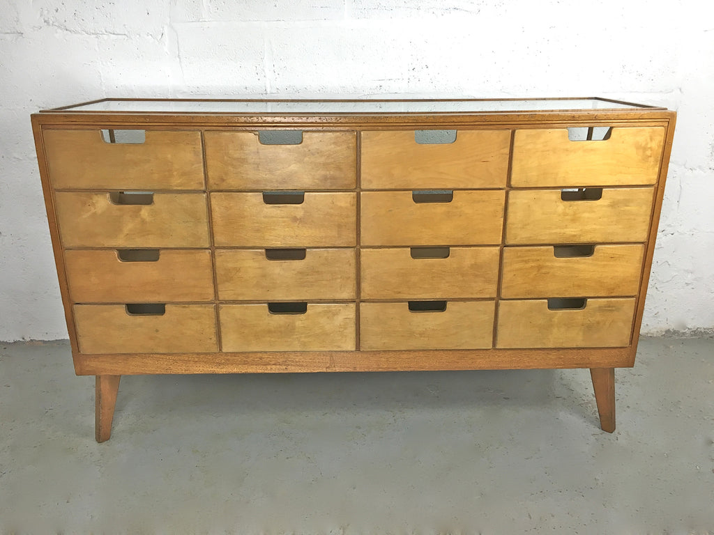 Vintage haberdashery display drawers, antique shop counter or sideboard