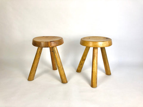 Pine Les Arcs stools by Charlotte Perriand - Price on request