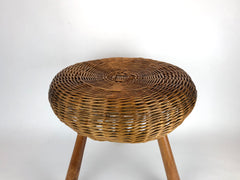 Mid century wicker tripod stool / side table attributed to the American designer Tony Paul.