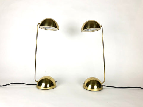 Post modern brass Minikini table lights by Tronconi, Italy 1980s