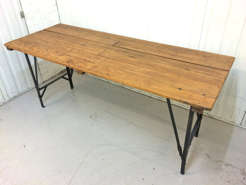 1950s pine and metal table