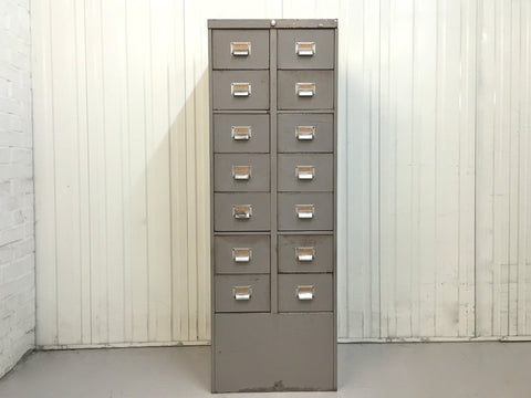 Vintage industrial 14 drawer steel filing cabinet by Roneo Vickers