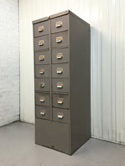 vintage industrial metal steel filing cabinet by Roneo Vickers antique storage drawers