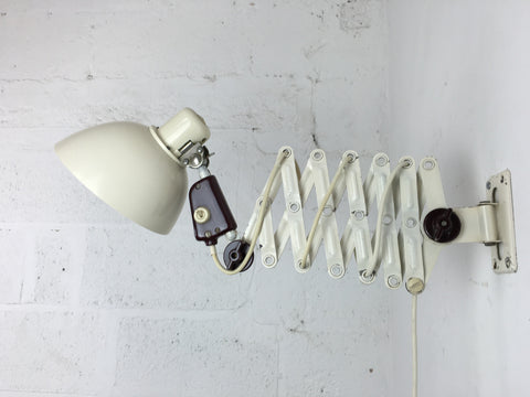 Vintage industrial German scissor arm extendable wall lamp