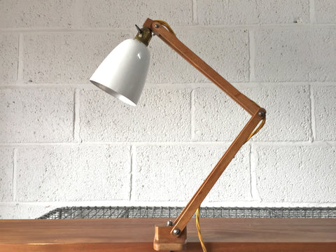 50s wooden arm clamp light by Klamplight