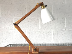 50s wooden arm clamp light by Klamplight - eyespy