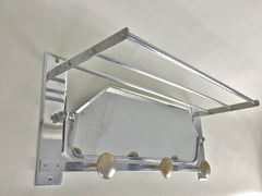 Vintage french coat hooks with mirror and hat rack in chrome