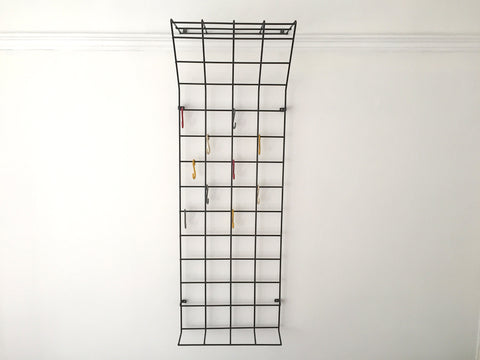 Mid century geometric wire grid coat rack by Karl Fitchel
