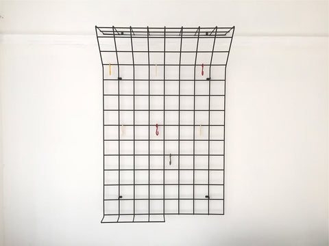 Mid century geometric wire grid coat rack by Karl Fichtel - Large