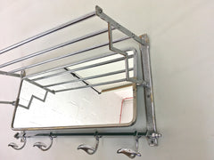 Vintage chrome coat rack and mirror French art deco