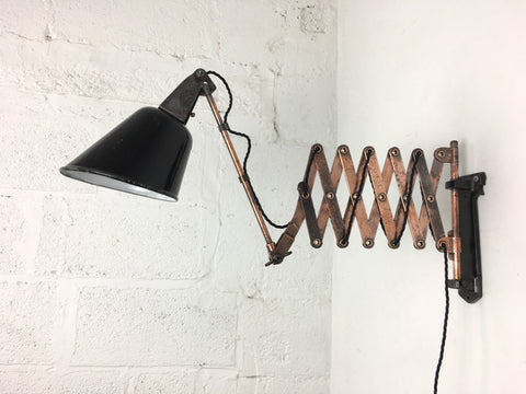 1930s scissor arm wall mounted lamp by Walligraph