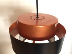 Mid century lighting online - Danish copper and black Juno pendant light by Jo Hammerborg for Fog Morup