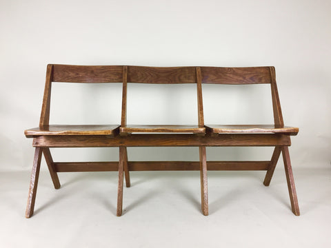 Antique oak school fold up bench 3 seats