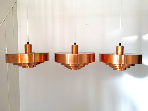 Danish 'Roulet' copper pendant ceiling lights by Jo Hammerborg, Fog & Mørup