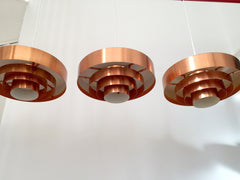 Danish 'Roulet' copper pendant ceiling lights by Jo Hammerborg, Fog & Mørup - eyespy