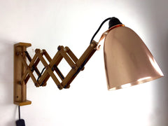 Maclamp wall lamp, wooden arm, copper shade - eyespy