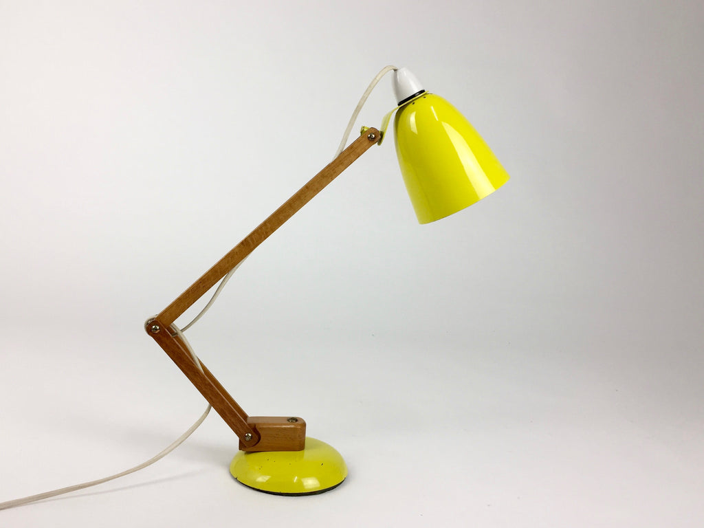 Maclamp by Terence Conran for Habitat. Yellow, wooden arm - eyespy