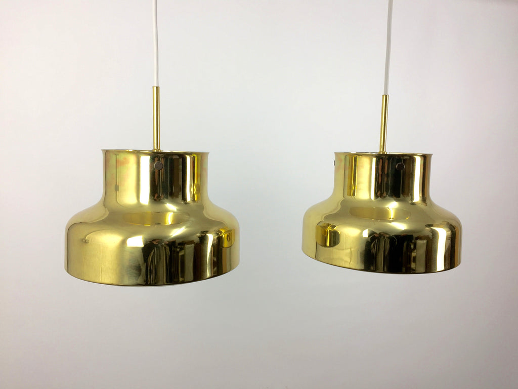 Pair of brass 'Bumling' pendant lamps by Anders Pehrson for Ateljé Lyktan - eyespy