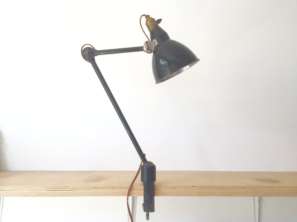 1930s Vintage Industrial desk/bench clamp lamp by Mazda, France - eyespy