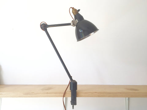 1930s Vintage Industrial desk/bench clamp lamp by Mazda, France