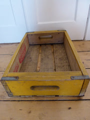 VINTAGE US SODA CRATE 'DOUBLE COLA' - YELLOW - eyespy