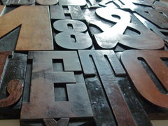 Vintage letterpress wooden printing blocks - eyespy
