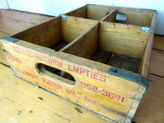 VINTAGE U.S 60s OSCAR'S SODA BOTTLE CRATE - 4 SECTIONS - eyespy