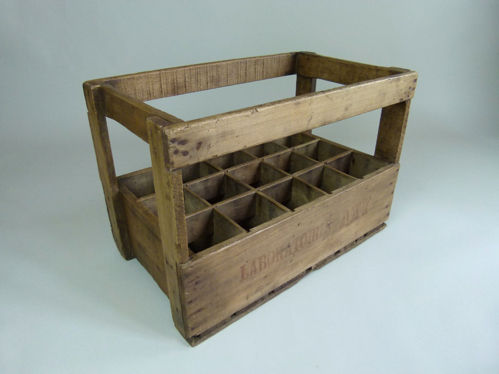 50s French wooden bottle storage crate - eyespy