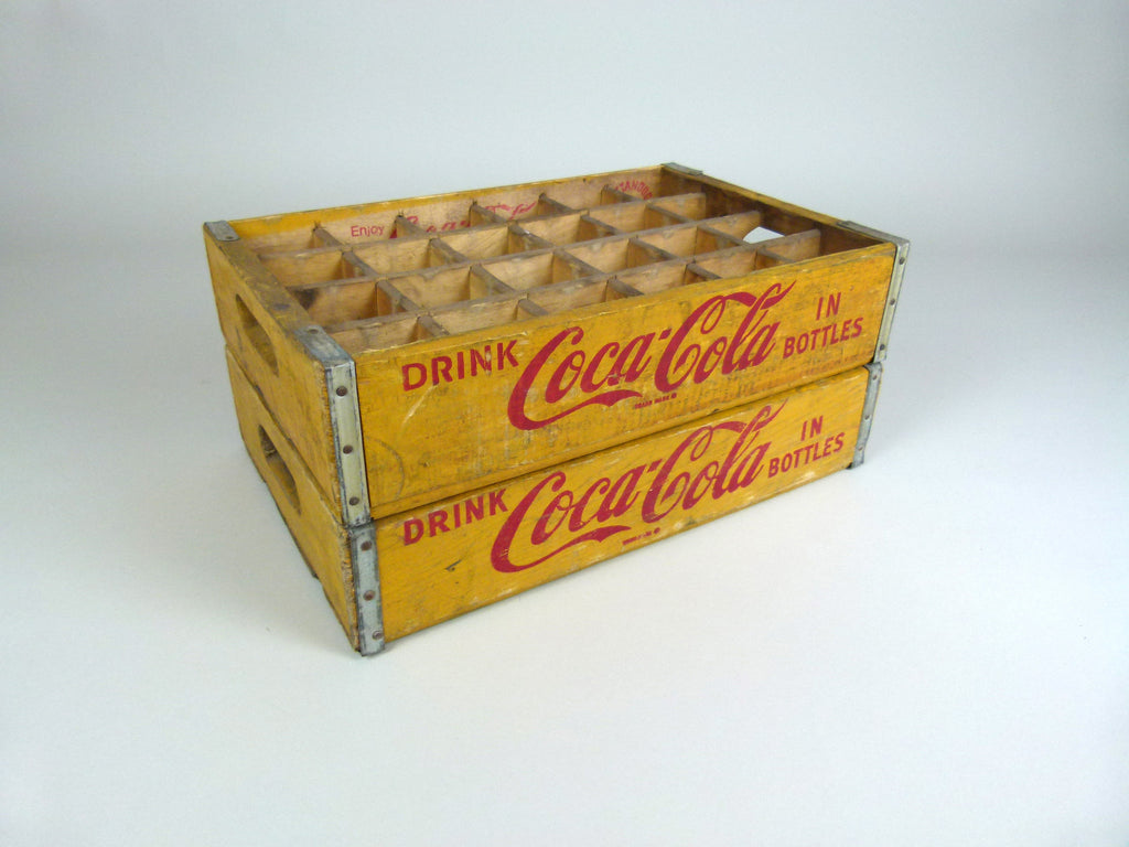 Vintage Coca Cola Bottle Crate 24 Section Yellow Eyespy