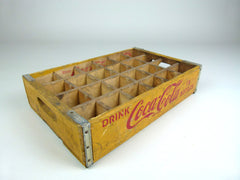 Vintage coca cola bottle crate, yellow, 24 section - eyespy
