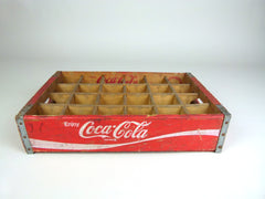 Coca cola wooden bottle crate - 24 sections-  red - eyespy