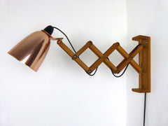 Habitat Conran Maclamp wall mounted extendable wooden arm, copper shade - eyespy