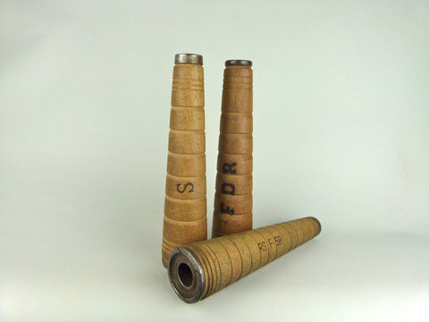 3 large 28cm high textile factory bobbins