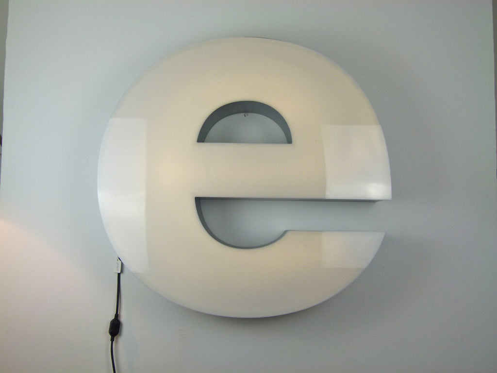 Giant reclaimed illuminated shop sign letter - E - eyespy