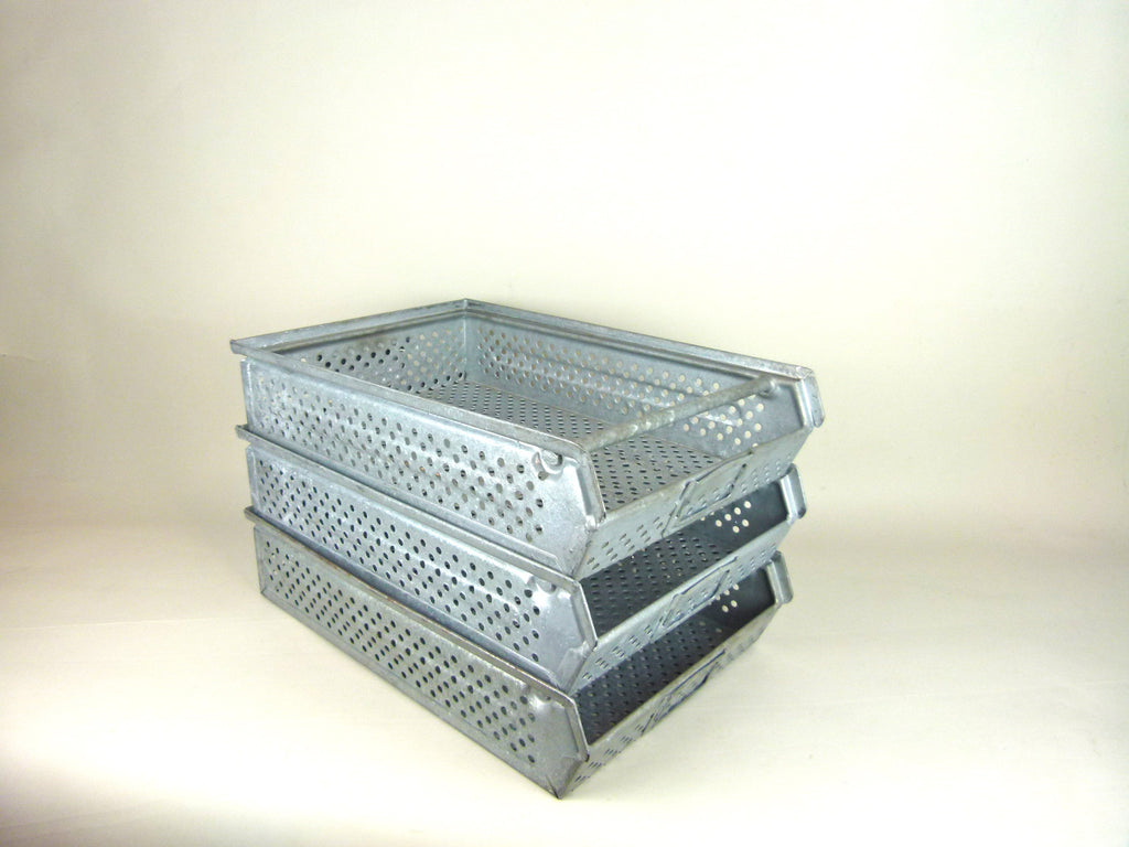 German vintage industrial metal stacking factory trays - eyespy