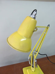 Herbert Terry Anglepoise lamp in yellow.  Vintage lighting from eyespystore