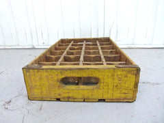 Coca Cola wooden bottle crate. 24 section - Yellow - eyespy