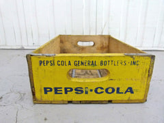 Vintage wooden Pepsi crate - Yellow - eyespy