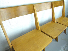 Antique oak school fold up bench 3 seats - eyespy