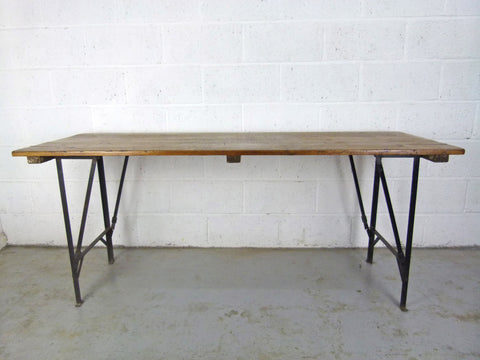 1940s pine and metal table