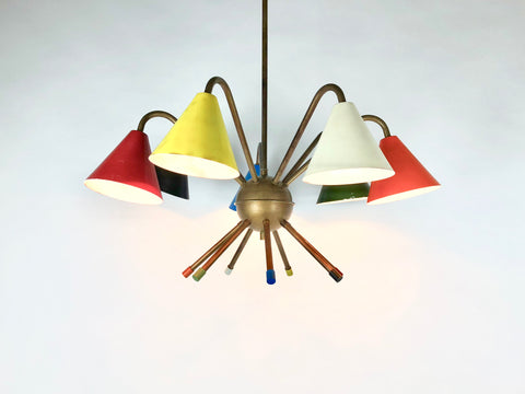 1950s Italian Atomic 7 light chandelier