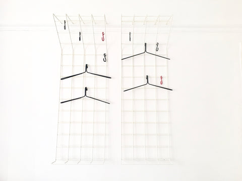Mid century geometric wire grid coat racks by Karl Fitchel