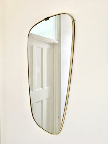 1960s brass framed asymmetric wall mirror