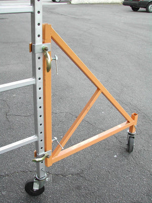 Scaffold Rolling Tower Standing at 17' High with Hatch Deck Guard Rail and U Lock Brace CBM1290