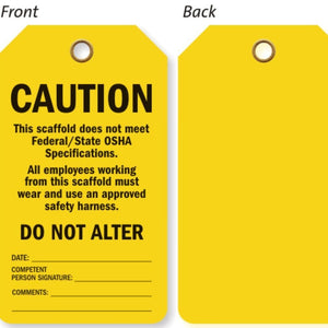 YELLOW Safety Tag 100 Pieces