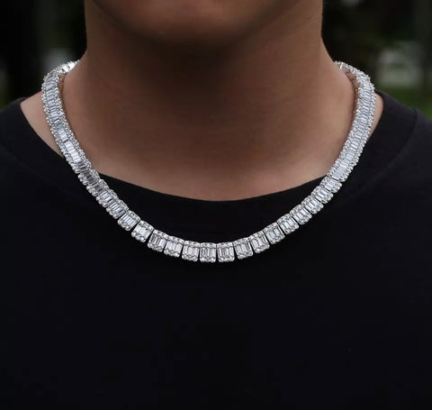 Iced Out Diamond Baguette Cluster Chain