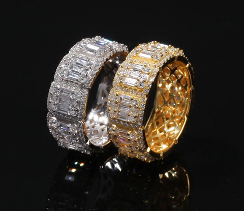 Iced Out Baguette Cluster Diamond Ring