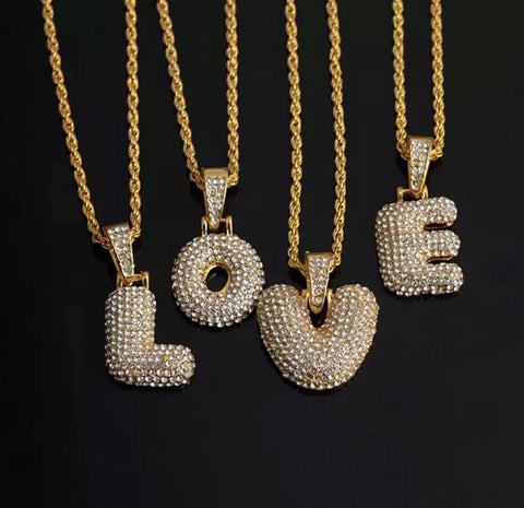 Bubble Letters Necklaces & Pendant Chain
