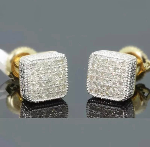 18k Gold Diamond Square Cut Earrings