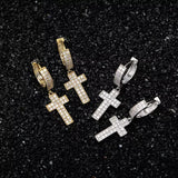 Thick Diamond Cross Earrings